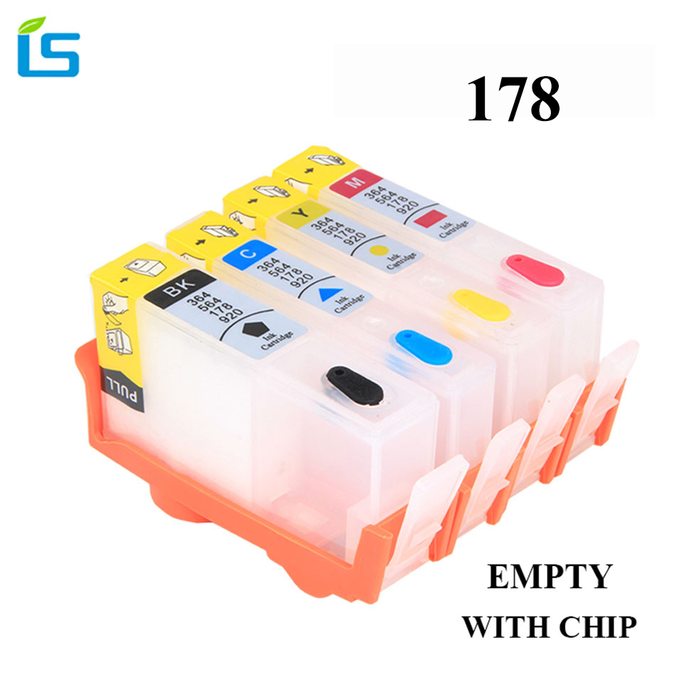 4Pcs EMPTY <font><b>178</b></font> Compatible Ink Cartridge Replacement For <font><b>HP</b></font> <font><b>178</b></font> for <font><b>HP</b></font> Photosmart C5380 C5383 C6380 C6383 D5460 D5463 C309a C309c image
