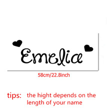 Girls Name Wall Sticker With Hearts