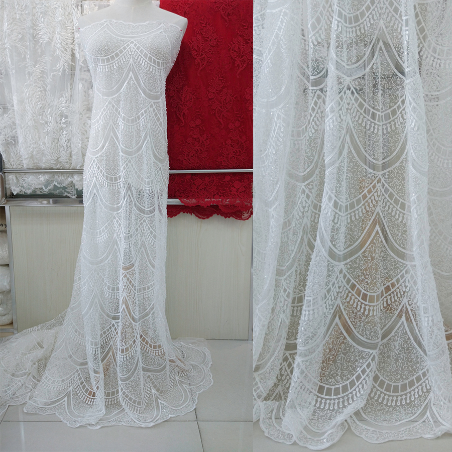 one yard Heavily beaded soft tulle lace fabric in ivory for wedding gown haute couture bridal accessoriesone yard Heavily beaded soft tulle lace fabric in ivory for wedding gown haute couture bridal accessories