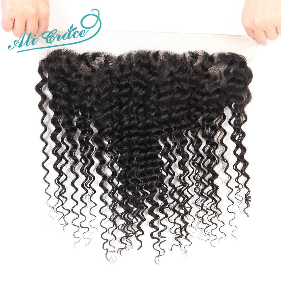 Ali Grace Hair Brazilian Deep Wave 4 Bundles With Frontal Remy Human Hair With 13*4 Free Middle Part Ear To Ear Lace Frontal