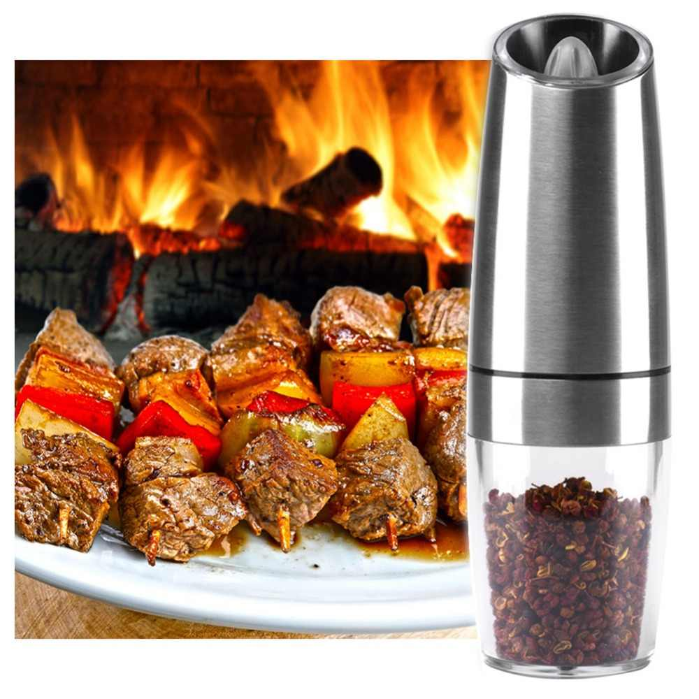 New Automatic Electric Pepper Grinder Salt Mill With LED Light Free Kitchen Seasoning Grinding Tool Automatic MillsDropshipping