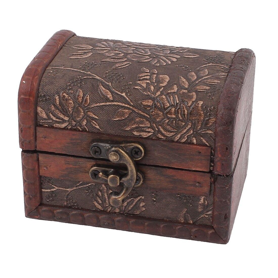 Retro font b Vintage b font Style Floral Pattern Burgundy Wood Trinket Storage font b Jewelry