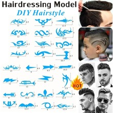 28Pcs/Set Salon DIY Hairstyling Hair Tattooing Template Hair Trimmer Carved Coloring Pattern Stencil Dye Coating Board Rookie