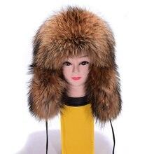 Luxury Winter Ladies' Wholeskin Real Raccoon Fur Bomber Hat