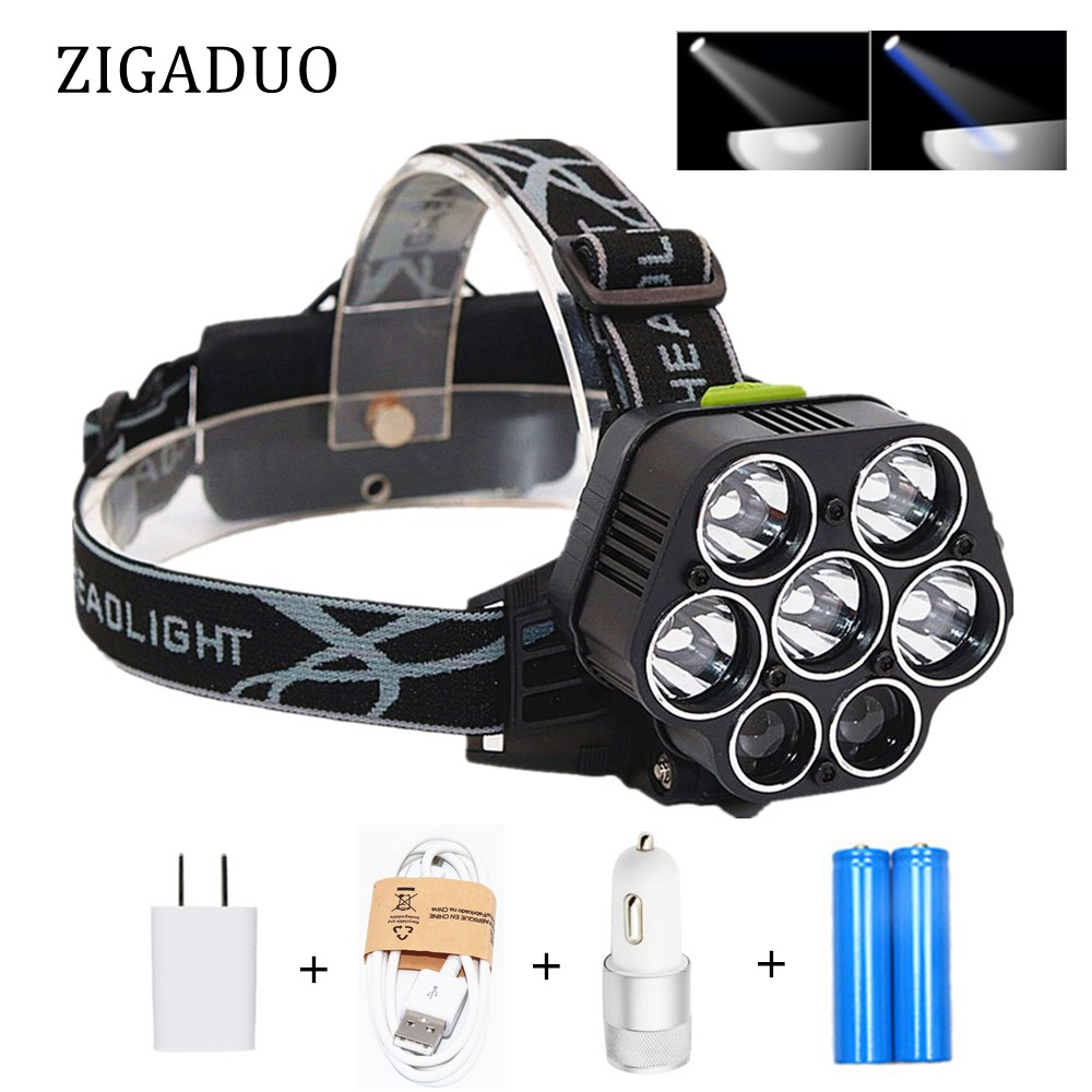 USB Rechargeable XML-5*T6 7 LED Headlamp Headlight Head Lamp 40000 lumens LED Head Flashlight Torch White Blue 18650 Head Lights 8000lm usb rechargeable head lamp torch xml t6 cob led white red light headlamp frontal led running headlight usb cable by 18650