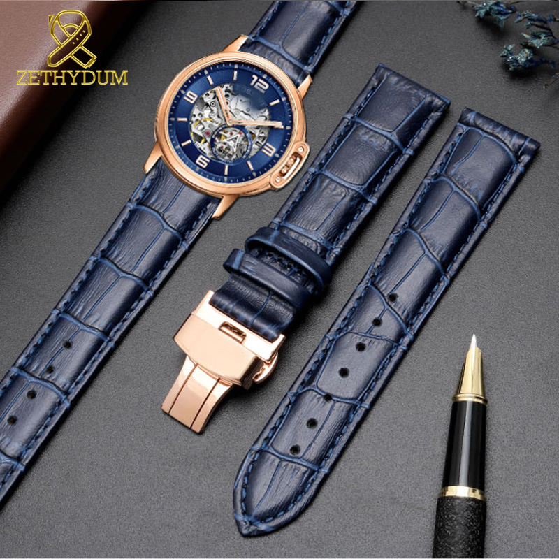 Genuine Leather Bracelet Dark Blue Color Watch Strap Butterfly Clasp Watchband  Sized In 14 16 18 20 21 22 24mm Watch Band