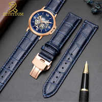 Echtes leder armband dark blau farbe uhr strap Schmetterling Schließe armband größe in 12 14 16 18 20 21 22mm 23mm uhr band