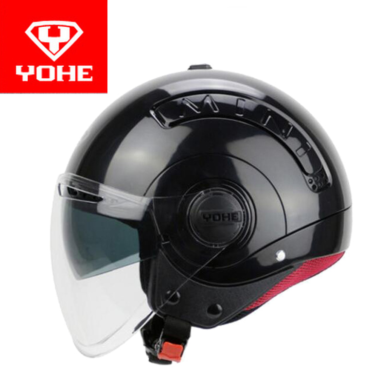 2017 Summer New YOHE Double lens Half Face Motorcycle helmet MINI Motorbike helmets made of 709 ABS and PC Visor lens 6 colors yohe undrape face motorcycle helmet yh 936 open face moto racing helmets made of abs visor is for pc material