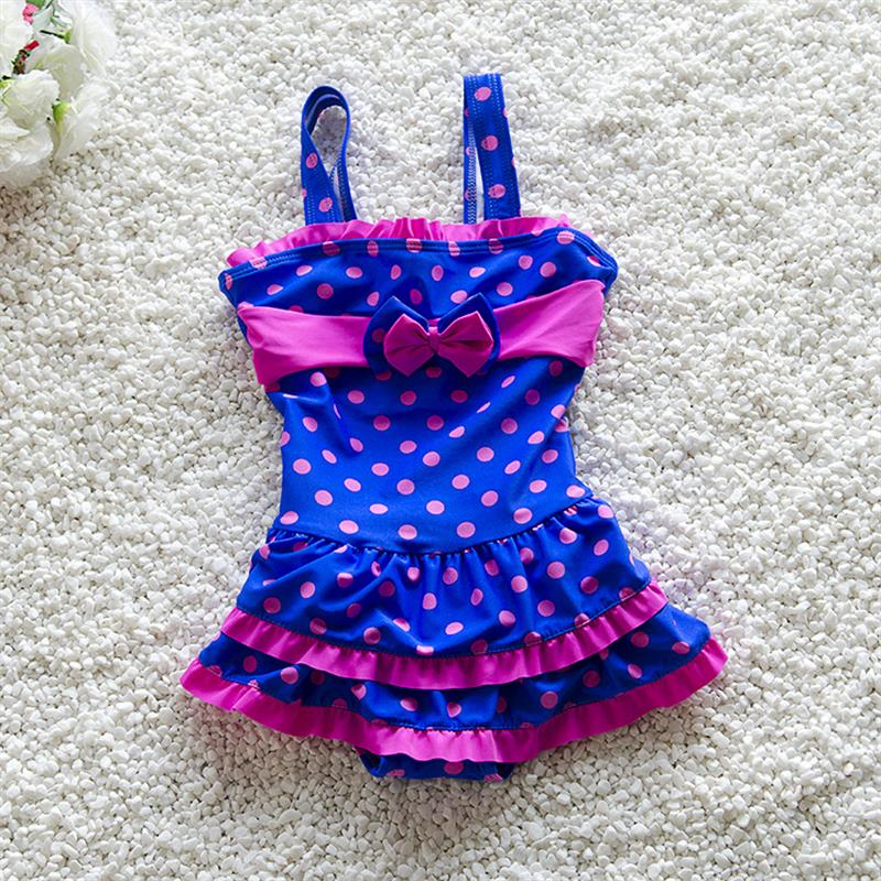 Sweet Dots Kids Swimsuit Quality Girls Swimwear Teenagers One-pieces Lovely Bow Design Bath Suit Infant Children Baby Beachwear