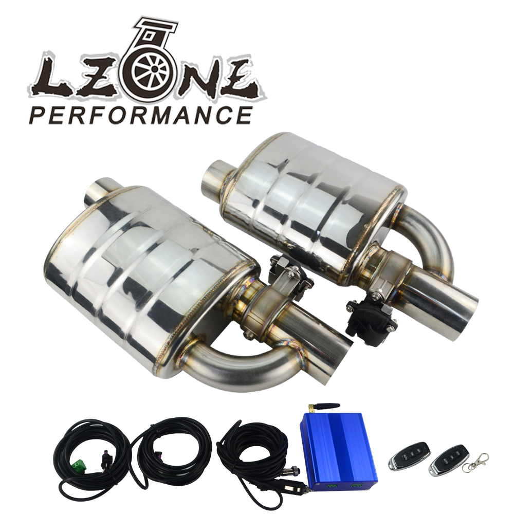 Stainless Steel 2.5 3 Slant Outlet Tip Inlet Variable Exhaust Muffler With Vacuum Exhaust Cutout Electric Control Valve Kit