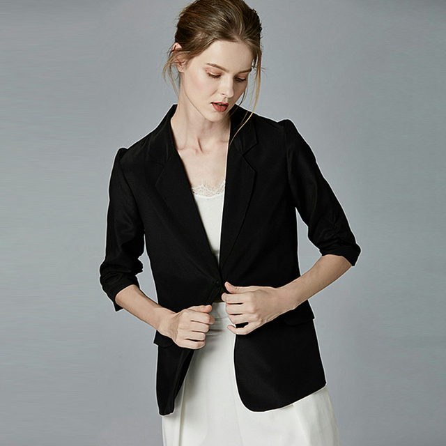 High Quality Blazers Women Suit 100% Silk Fabric Simple Design Three-quarter Sleeve Single Button 2 Colors Suit New Fashion 2018