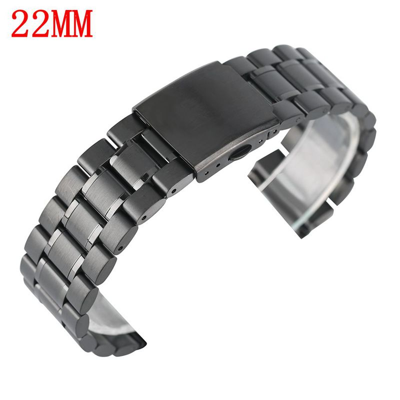 22mm Black Watch Band Luxury Stainless Steel Fashion Bracelet + 2 Spring Bars Clasp Solid Link Strap Metal Watches Replacement m1 5 8 25mm 1pcs watch band spring bars strap link pins repair tool watchmaker stainless steel watch accessories kit set