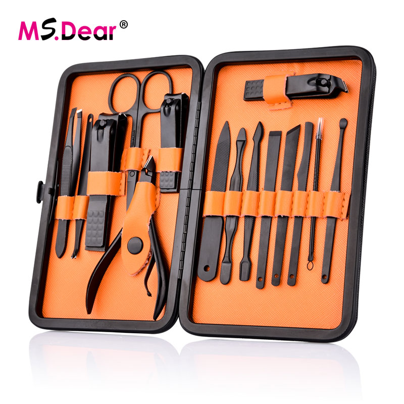 15 Pcs Black Stainless  Steel Nail Clipper Cutter Trimmer Ear Pick Grooming Kit Manicure Pedicure Toe Nail Tools Set with Case