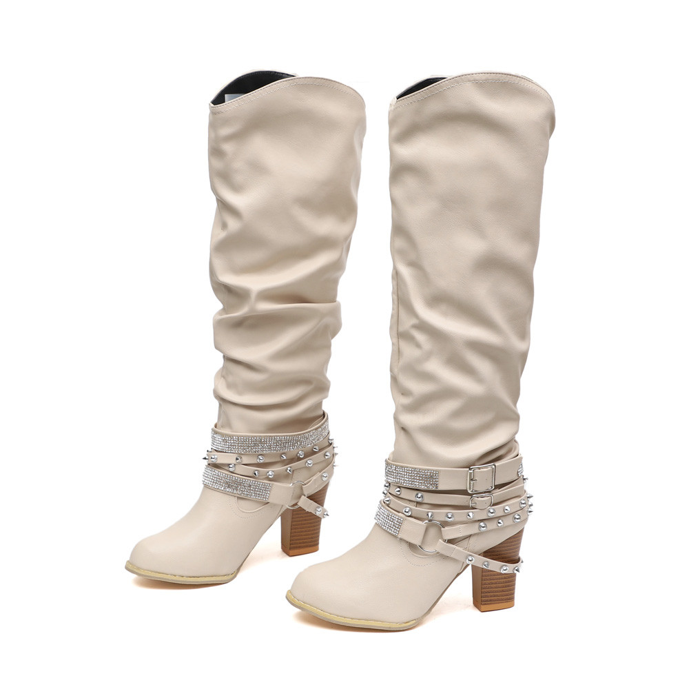Di Scarpe Lunghi Stivali Modo bw Rivetti Tacco Szyadeou Lucido Alto bk Bootie Mujer Bg Punta Quadrato gy A Caviglia Zapatos De Ayakkabi Retro 30 kh LUVpqSzMG