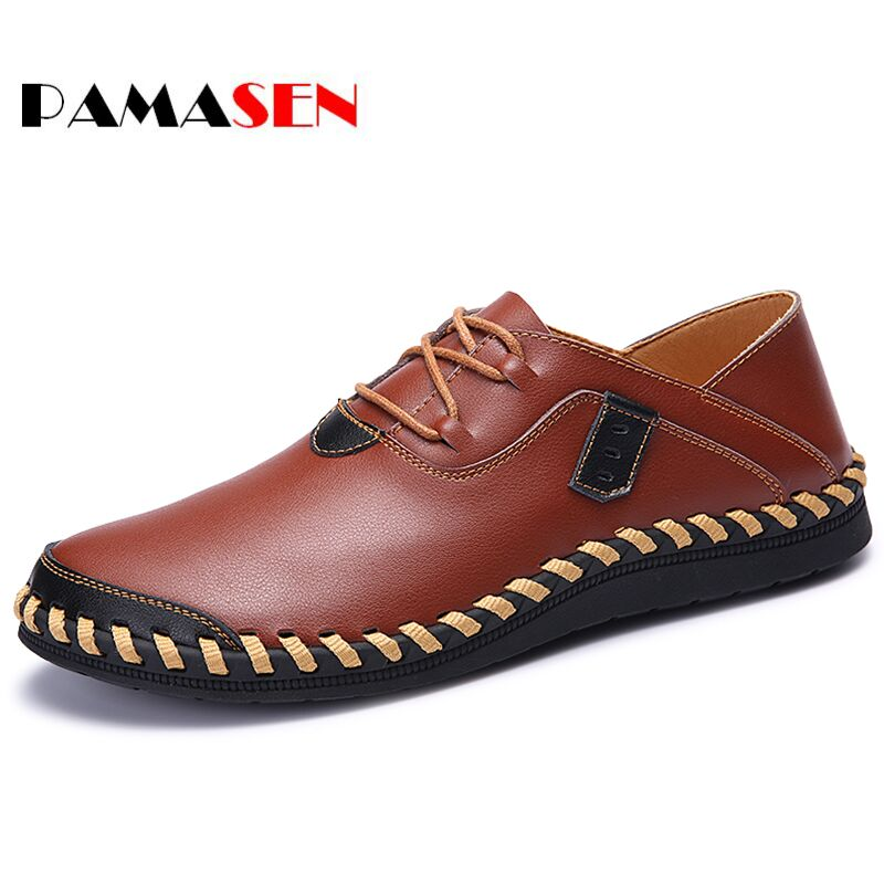 PAMASEN Men Genuine Leather Shoes Lace-Up Real Leather Loafers Handmade Mens Moccasins Shoes Italian Designer Shoes Size 38-47 high end breathable men casual shoes loafers genuine leather lace up rubber handmade slip on sewing lazy shoes italian designer