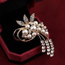 ZOSHI ювелирные изделия высокого качества винтажная Золотая брошь на булавке Австрийские кристаллы брошь-цветок из искусственного жемчуга свадебные аксессуары