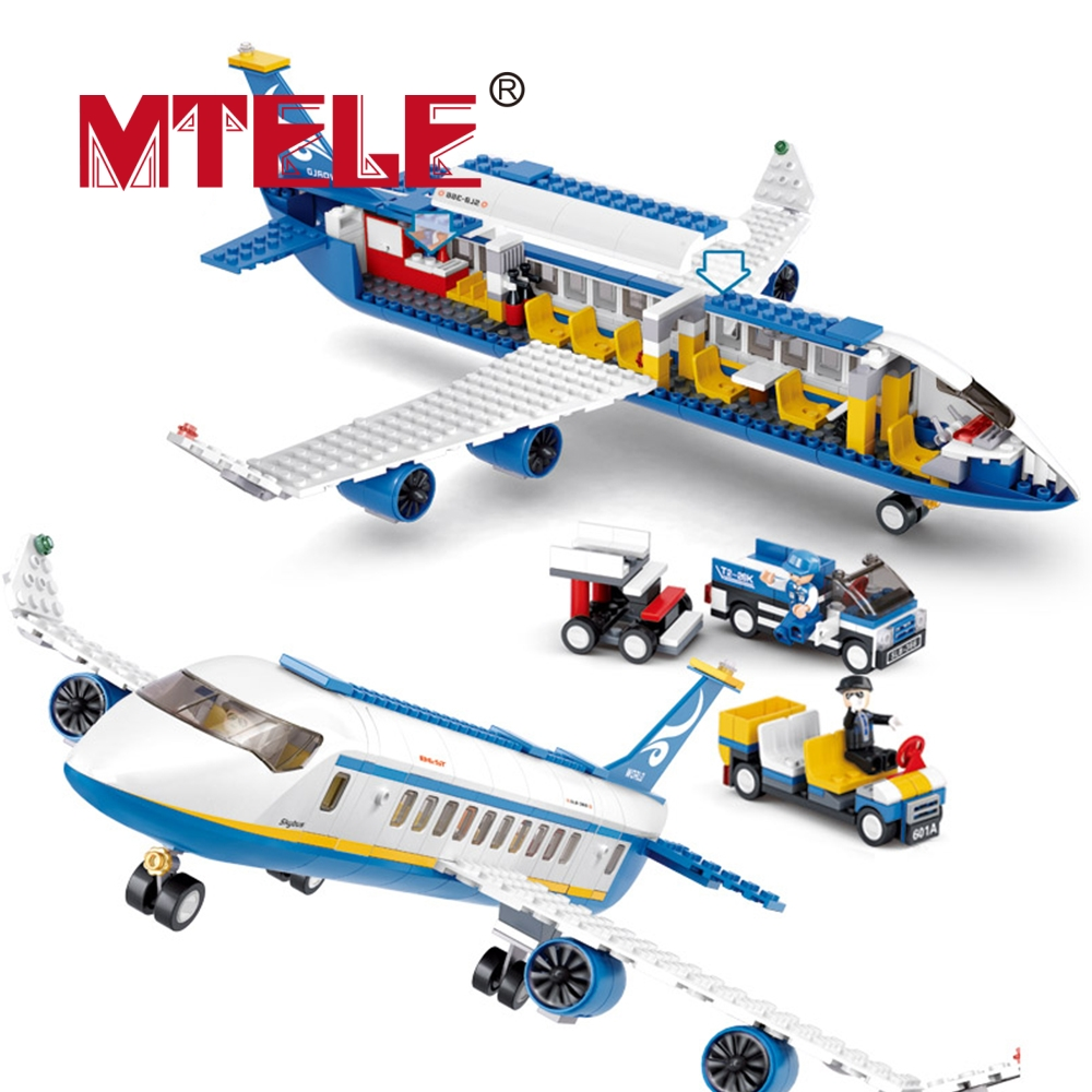 MTELE Brand Blue Airbus Airplane Model Building Blocks 483pcs DIY Educational Bricks toy Compatible with lego High Quality