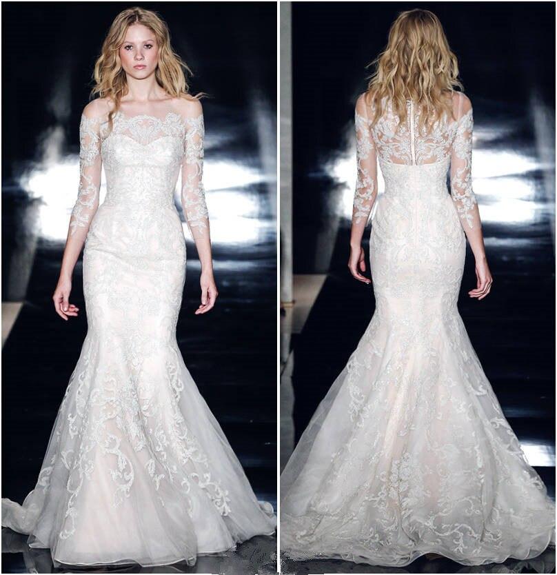 New Wedding Dress Lace 2019 Bridal dresses Gown Mermaid Pearls Long Sleeves with Detachable Train Trumpet  /*/Vestido de novia