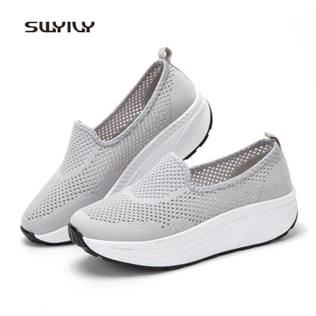 Swyovy zapatos de plataforma transpirables para mujer, zapatillas transpirables de tejido, zapatos de verano ultraligeros y adelgazantes, 2018