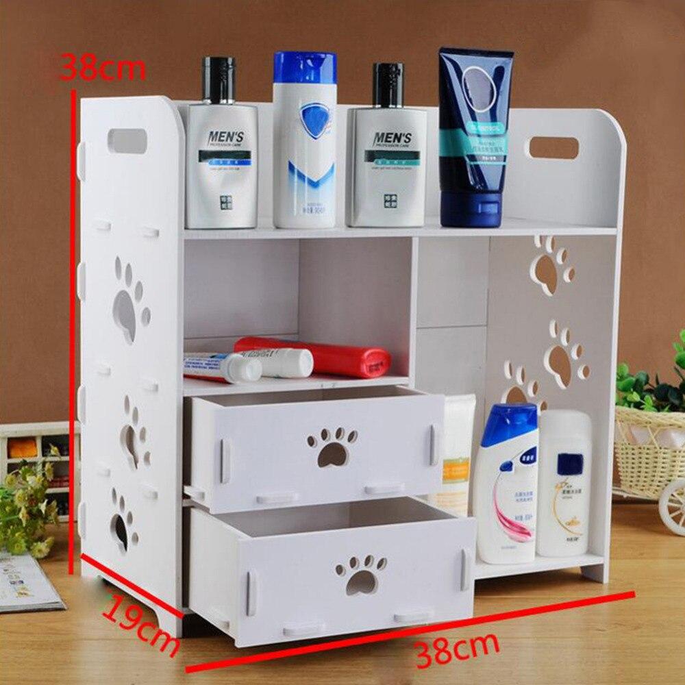 Multi-fonction bricolage salle de bains chambre boîte de rangement articles de toilette maquillage support organisateur bois cosmétique stockage Racks cas 3 styles
