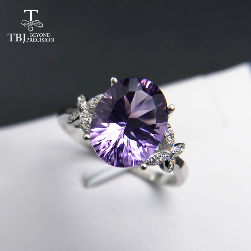 TBJ 925 sterling silver with 100 natural Brazil amethyst oval 8 10mm for women female rings