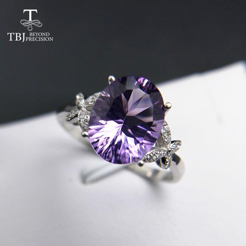 Tbj, 925 серебро с 100% натуральный аметист Бразилия Овальный 8*10 мм для женщин, женские кольца, оригинальный Fine Jewelry с подарочной коробке