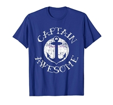 new men shirt Captain Awesome T Shirt, Nautical Sailor Anchor Gift