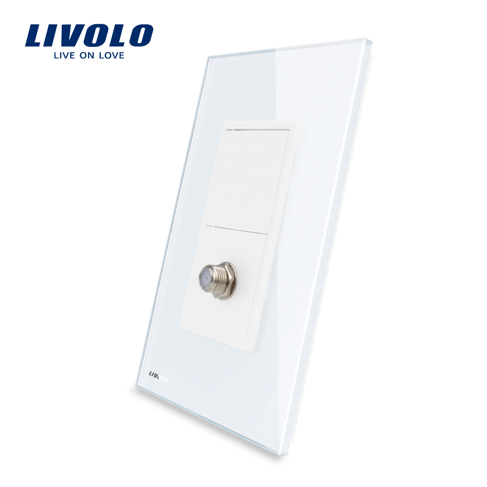 Livolo US Standard  Satellite TV Power Socket, White Crystal Glass, VL-C591ST-11.Livolo US Standard  Satellite TV Power Socket, White Crystal Glass, VL-C591ST-11.