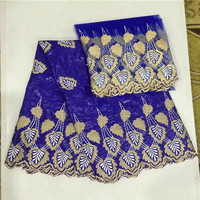 Wholesale Blue Bazin Riche Lace With Blouse Bead African Lace Fabric 2017 Indian Guipure Lace Embroidered Wedding Dress Fabrics