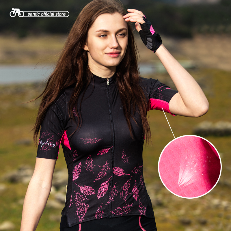 Santic Women Cycling Short Jersey Pro Fit Ladies Road MTB Bike Bicycle Jersey Short Sleeve Summer
