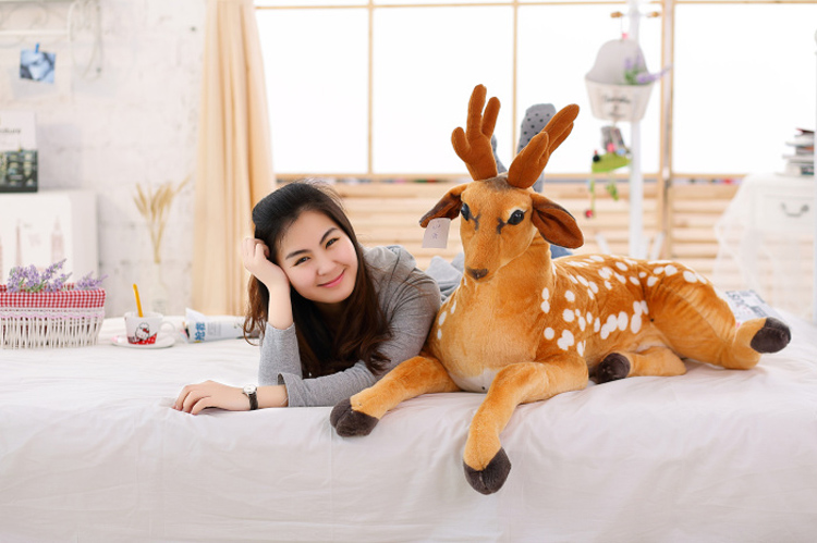 simulation animal huge 110cm prone sika deer plush toy throw pillow birthday gift b0700 stuffed plush toy huge 95cm prone panda doll soft throw pillow birthday gift b0487