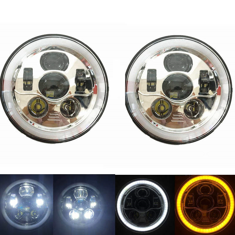 7 LED headlight Headlamp For Jeep Wrangler 7 Round LED Ring Halo Angel Eye H4 Headlights Head Lights For Lada 4x4 urban