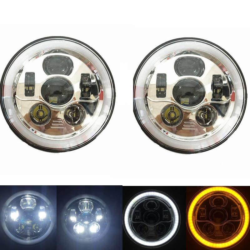 7 LED headlight Headlamp For Jeep Wrangler 7 Round LED Ring Halo Angel Eye H4 Headlights Head Lights For Lada 4x4 urban marloo pair 7 led headlight for jeep wrangler jk headlamp with halo angel eye