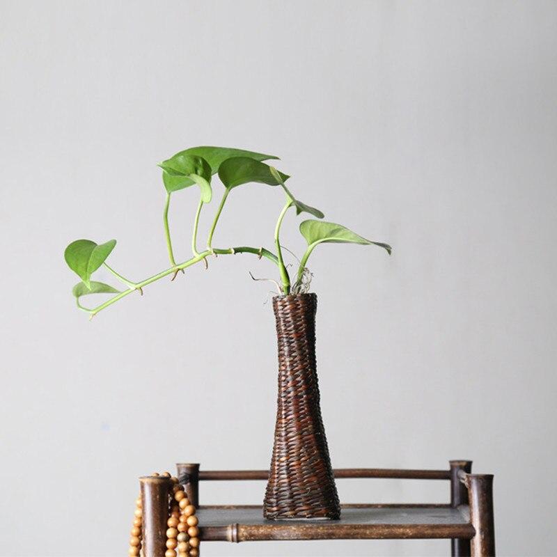 Handmade Japanese Bamboo Flower Vase For Home Decoration Plant Paint