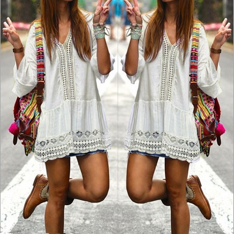 2017 Чешского Стиль Женщины Лето Белый Dress Сексуальное Вскользь V шея 3/4 Flare Рукавом Кружева Крючком Свободные Мини-Бич Платья Vestidos