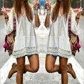 2017 de estilo bohemio verano de las mujeres white dress casual sexy v cuello de encaje de manga 3/4 flare crochet sueltas mini vestidos para la playa vestidos