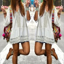 Bohemian Style Women Summer White Dress Sexy Casual V Neck 3/4 Flare Sleeve Lace Crochet Loose Mini Dresses S M L Vestidos