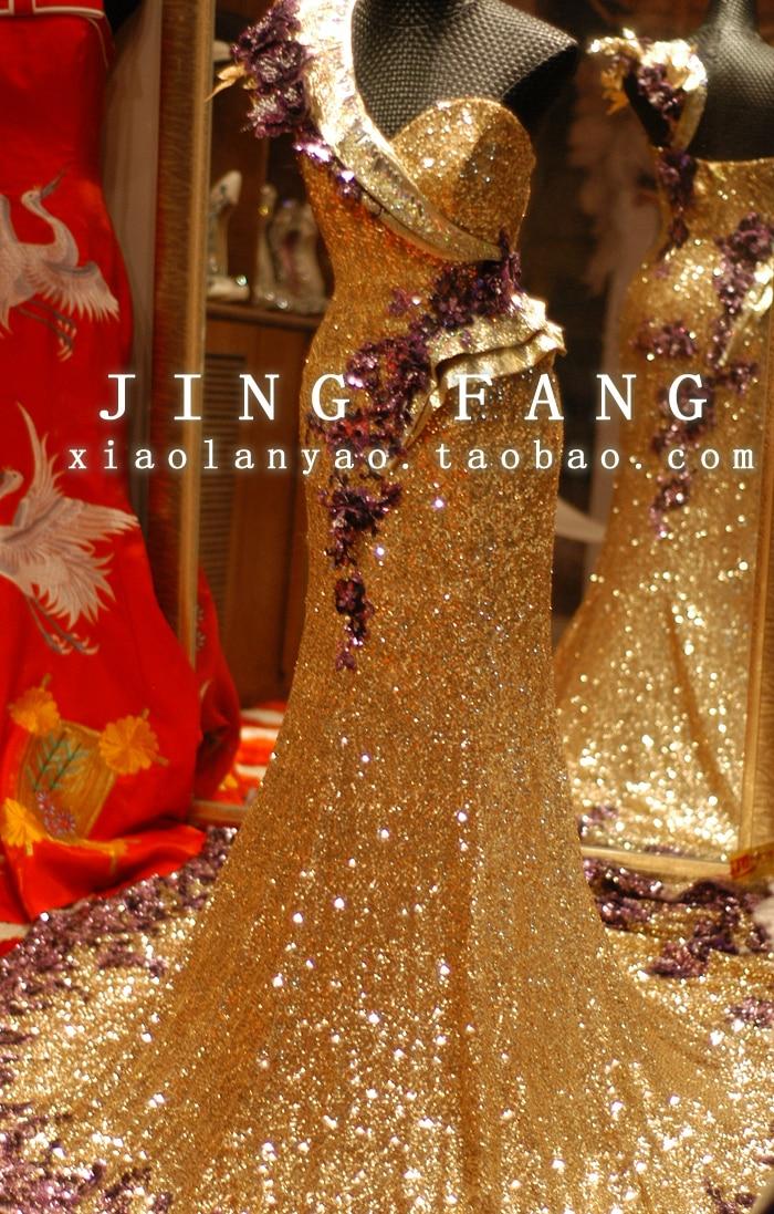 One Shoulder 2018 Real Crystal Vestido De Renda Festa Party Gown Gold Sequins Long Party Evening Mother Of The Bride Dresses