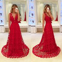 Women Red Deep V Neck Floor Length Lace Sleeveless Long Dress Hollow Out Performance Dress Fancy Party Diner Dress