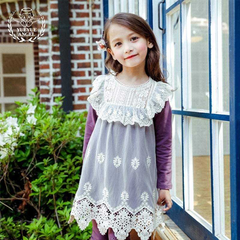 Весенняя мода для малышей платье для девочек цветочной вышивкой с длинным рукавом милые детские халат кружева сетки принцесса Платья для п...