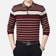 Осеннее Новое Деловое платье вязаный шерстяной мужской свитер пуловер с отложным воротником мужской полосатый Homme XL XXL