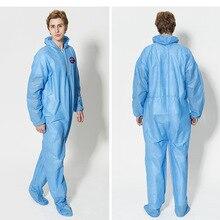Одноразовая рабочая одежда из нетканого материала защитная одежда Пылезащитная Водонепроницаемая Мужская Рабочая одежда с капюшоном Комбинезоны