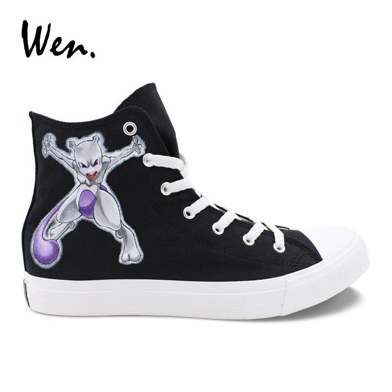 Вэнь Покемон Mewtwo Дизайн ручная роспись Косплэй обувь подростки кроссовки аниме Вулканизированная обувь Комфорт кеды Zapatillas
