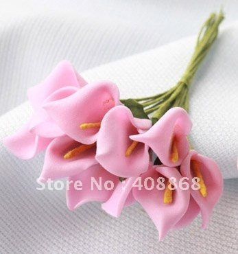 120pc Foam Geranium pink Handmade Mini Calla Lily Flower Wedding Favor Decor Scrapbooking wholesale/ retail Free Shipping