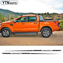 2pc car decals UPPER side window rear trunk sport styling graphic vinyl accessories for Ford ranger 2012-2017