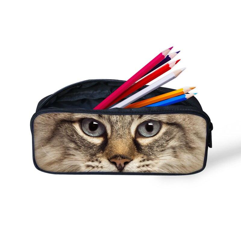 INSTANTARTS Kawaii 3D Fake Denim Pocket Cat/Kitten Print Kids Pencil Cases Big Students Pencil Pouch/Bags Travel Cosmetic Cases