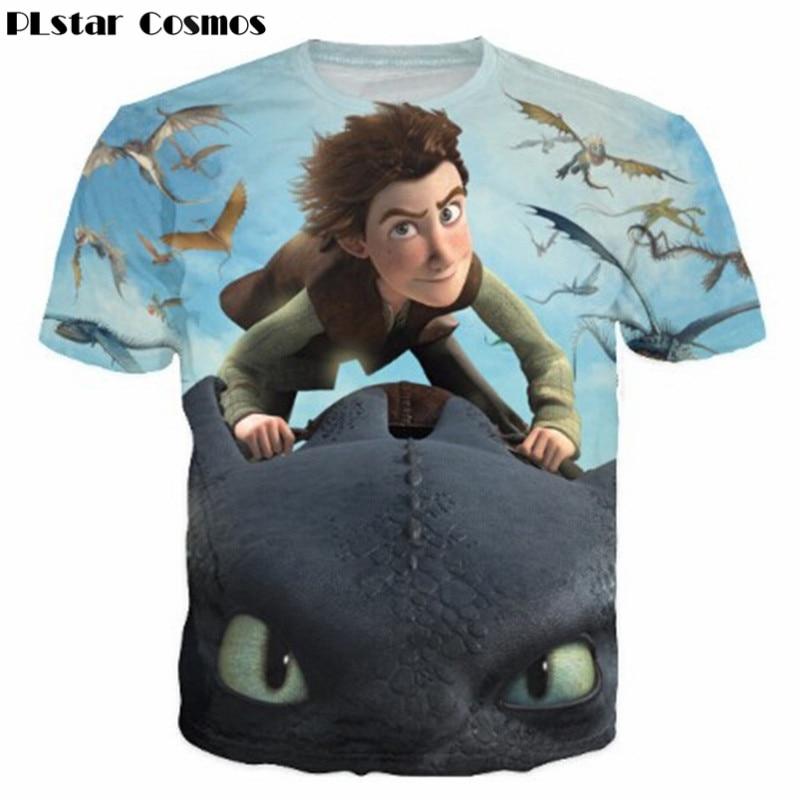 PLstar Cosmos Funny cartoon tshirt Dragon Riders of Berk cartoon Print3D T-Shirt women men Casual t shirt tee tops plus size 3XL