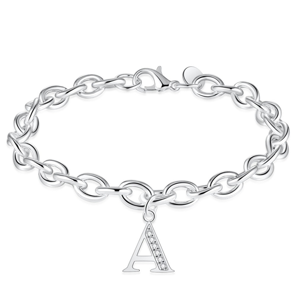 Vintage Letter A Bracelets for Women 7.8Inch Oval Chain