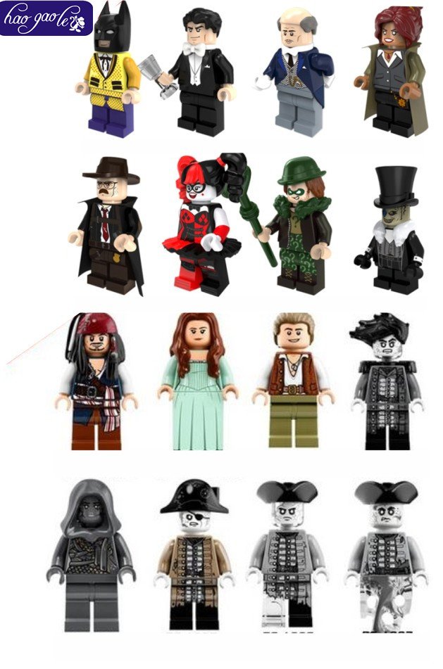 16PCS Pirates of the Caribbean VS Marvel Harley Quinn Commissioner Barbara Gordon Riddler Bataman Penguin Building Blocks LEPIN christmas background for photos pure white snowman pine cones backdrop photography children s photo shoots customize photocall