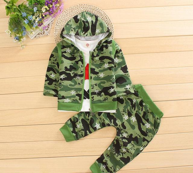 New Spring Baby Boy Clothes Set Kids Camouflage Leisure Suit T-shirt+Vest+Pants 3 Pieces Clothes Suit Boys Cotton Clothing Suit